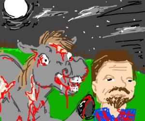 zombie pony attacks man