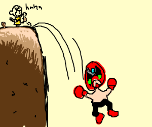 Charlie Brown kicks StrongBad off a cliff