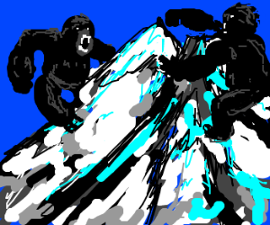 2 Giant Gorillas are rampaging on MT. Everest