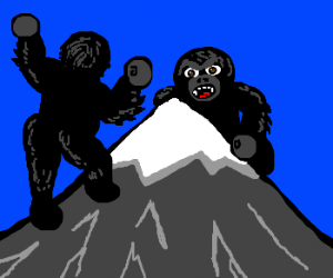 2 King Kongs fight over snowy mountain