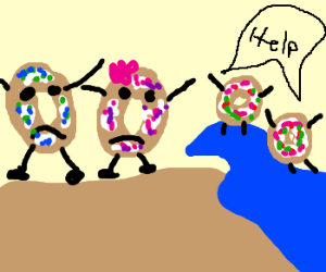 Donut couple loses kids to the ocean waves.