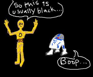 C-3PO welcomes R2-D2 to a black background