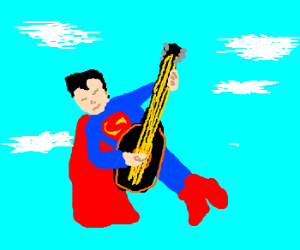 Superman playing black&gold guitar in the sky.