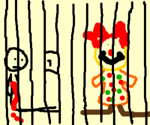 A man is bleeding with a clown in jail.