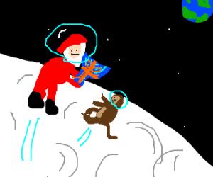 Santa gives Hanukkah gift to monkey on moon