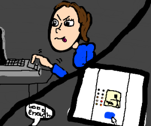 Girl draws a panel using laptop touch pad.