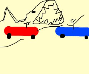 two racecars, 1 shark