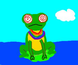 Hypnotized frog with rainbow necklace