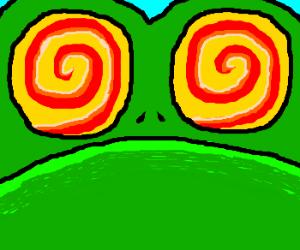 Swirly eyed frog up close
