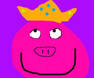 Pig king admires his crown