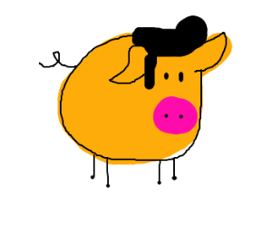 pig with a wig