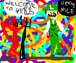 Luigi finds that Satan has very colorful home