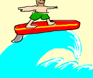 Tan faced guy goes surfing