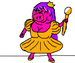 pig princess is happy today