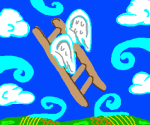 Ladder with wings flying into sky