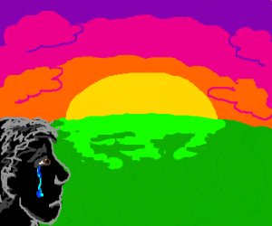 Man sheds a tear observing a sunset.