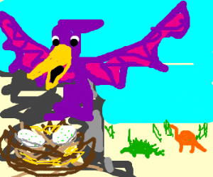 Pterodactyl in purple looks over nest and eggs