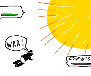 Ninja baby fights the sun
