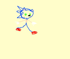 sonic as drawn by a 5yr old