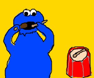 Cookie Monster eats drumsticks now.