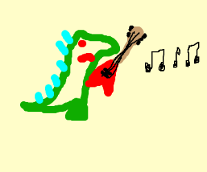 Godzilla playing some powerful riffs