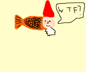 garden gnome wondering if he turned on fish