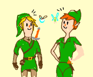 Link And Navi Meet Peter Pan And Tinkerbell Drawing By Austinbreed