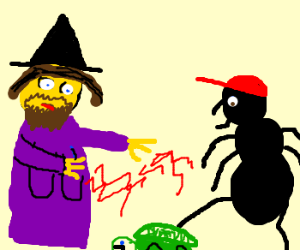 Bearded Witch and Ant-Man subdue a turtle