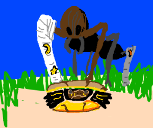 wizard casts on giant ant stepping on turtle