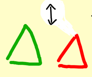 Two triangles argue about which is taller