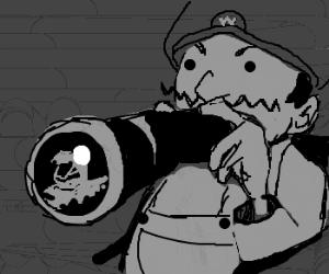 Wario spies on neighboring video games.