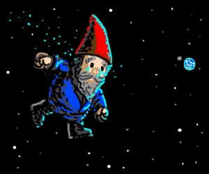 Gnome cries because he hates being in space