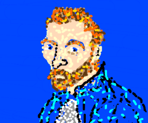 Pixelated portrait of bearded man (Van Gogh?).