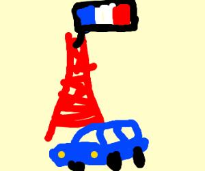 A Blue Car Under The Eiffel Tower