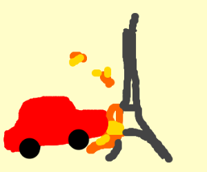A car destroys the Eiffel Tower. In france.