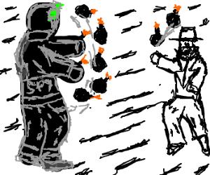 White Spy has a 2 bomb, Black Spy has a 7 bomb