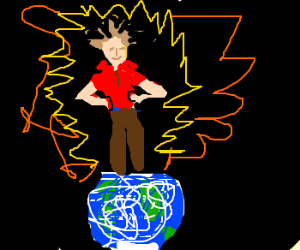 Man goes super saiyan and stands on the world