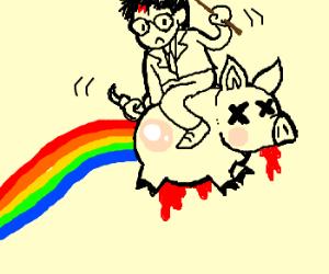 Harry Potter riding a blοοdy nyan pig backward