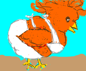 long orange haired chick with white bikini