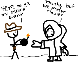 Lit bomb trading between Cowboy and Eskimo.