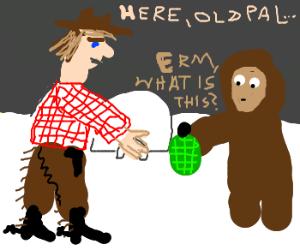 Politically rude cowboy gives Eskimo a bomb