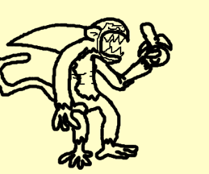 A monkey fused with a shark.