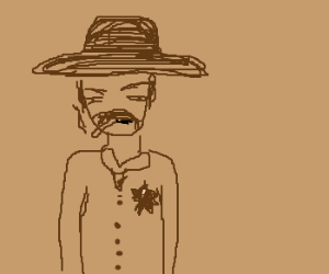 Sheriff smokes a cigarette