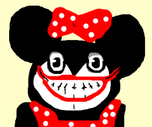 Minnie Mouse with a creepy look