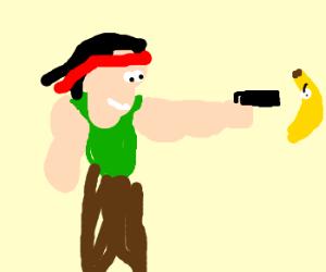Rambo shoots a giant evil Banana