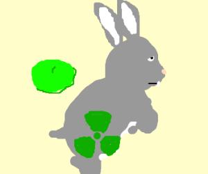 Rabbit w/ green beret, radiation sign on fur
