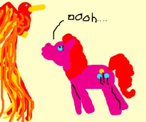Pinkie pie observes the phoenix