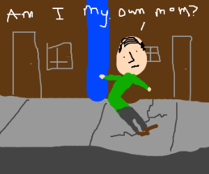 Man on sidewalk crack learns he's his own mom