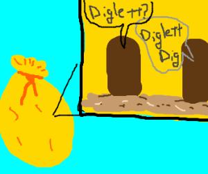 Faceless Digletts in a golden bag