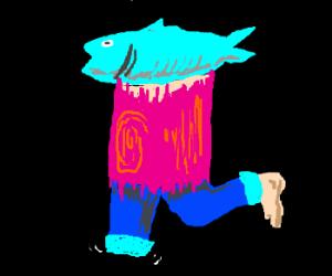 cyan fish(?) on pink wood(?), leg w/ bluejeans